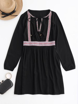 Long Sleeve Embroidered Casual Dress - Black