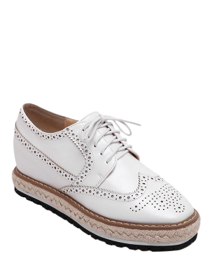 Wingtip Espadrilles Square Toe Platform Shoes - White