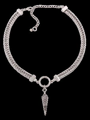 Geometric Pendant Rhinestone Alloy Necklace - Silver