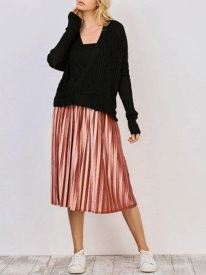 Oversized V Neck Ribbed Sweater - Black