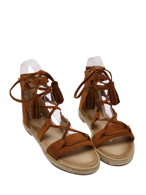 Tassels Lace Up Espadrilles Sandals - Brown