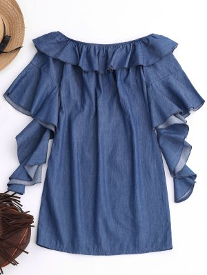 Off The Shoulder Ruffles Mini Dress - Denim Blue