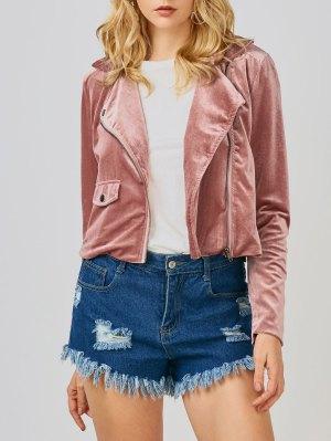 Velvet Biker Jacket - Deep Pink