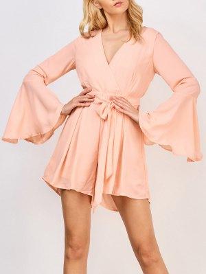 Flare Sleeve Surplice Romper - Pinkbeige