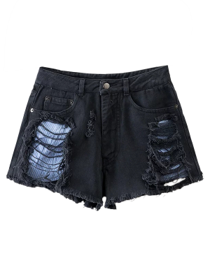 SEUILS Ripped Shorts - Noir