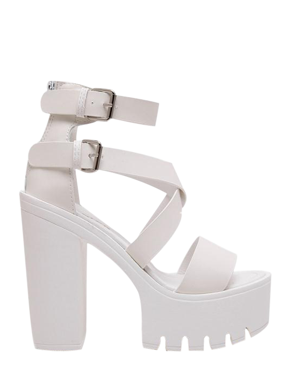 Zipper Double Belt Buckle Cross Strap Sandals