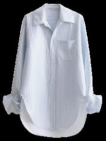 Striped Arc Hem Longline Boyfriend Shirt - Stripe M
