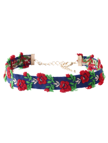 Flower Embroidered Choker