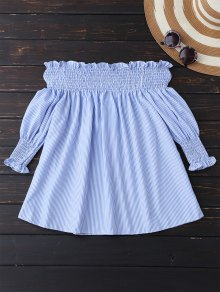 Smocked Off The Shoulder Blouse - Blue And White M