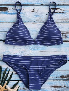 Banded Striped Bikini Set - Blue