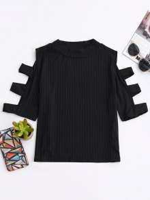 Cutout Ribbed Top - Black