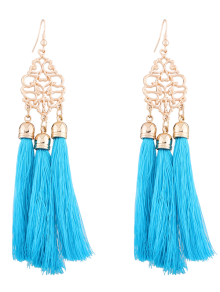 Alloy Engraved Tassel Drop Earrings