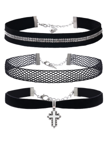 Crucifix Rhinestone Velvet Choker Necklace Set