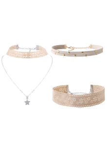 Flower Star Choker Necklace Set