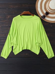 Oversized Cold Shoulder Top - Neon Green Xl