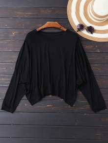 Oversized Cold Shoulder Top - Black L