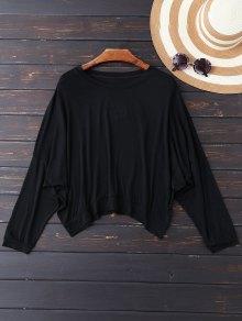 Oversized Cold Shoulder Top - Black Xl