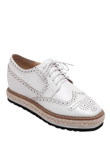 Wingtip Espadrilles Square Toe Platform Shoes - White 38