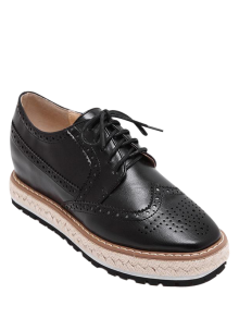 Wingtip Espadrilles Square Toe Platform Shoes - Black 38