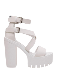 Zipper Double Belt Buckle Cross Strap Sandals - White