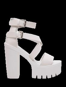 Zipper Double Belt Buckle Cross Strap Sandals - White