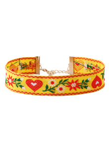 Heart Flower Embroidered Choker Necklace
