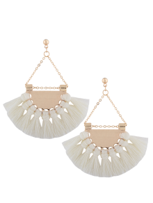 Alloy Triangle Tassel Drop Earrings - White
