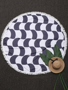 Fringed Crescent Print Round Beach Throw