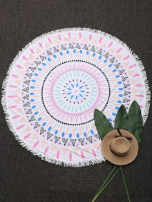 Round Geometric Fringed Beach Throw