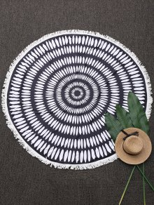Printed Round Fringed Beach Throw - Black