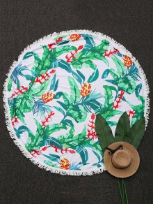 Round Tropical Fringed Beach Throw