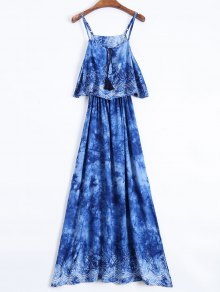 Layered Tie-Dyed Maxi Dress - Blue