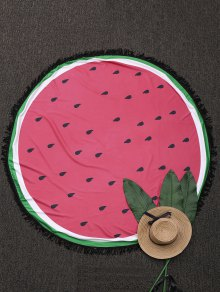 Round Color Block Fringed Beach Throw - Watermelon Red