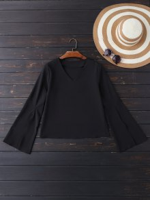 V Neck Slit Sleeve Blouse - Black M