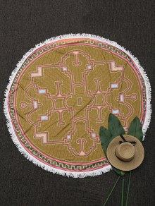 Round Tassels Printed Beach Blanket - Ginger