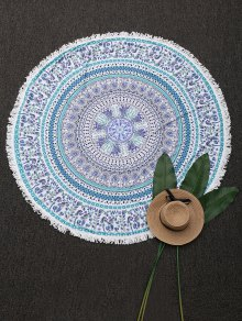 Round Tassels Mandala Beach Throw - Blue