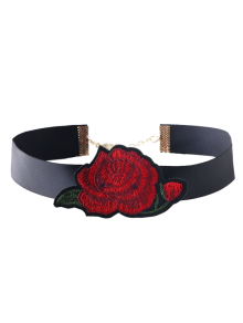 Floral Embroidered Choker Necklace