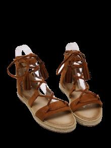 Sandalias De Las Borlas Del Cordón Para Arriba Alpargatas - Marrón