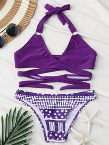 Halter Geometric Print Wrap Bikini Set