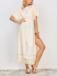Drawstring High Slit Maxi Dress - White