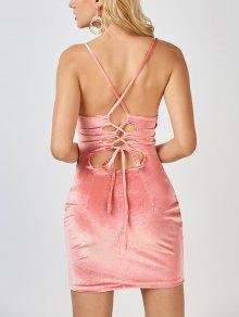 Velvet Cross Back Bodycon Mini Dress - Pink L