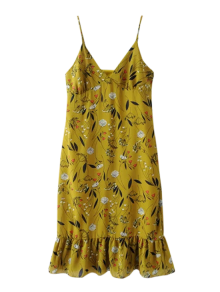 Ruffles Tiny Floral Cami Dress - Bluish Yellow