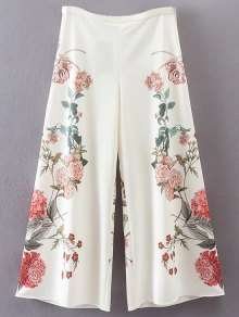 Pantalon Floral Culotte - Blanc