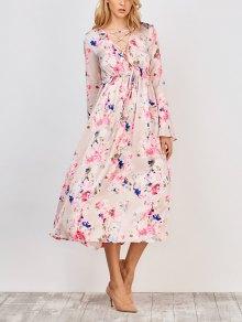 Flower Print V Neck Midi Dress