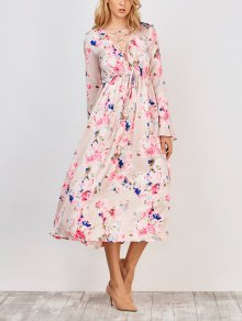 Flower Print V Neck Midi Dress