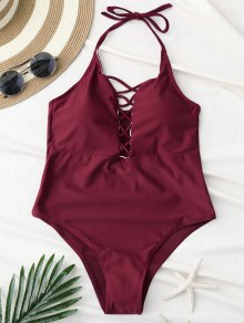 Cami Lace Up Swimsuit - Wine Red L