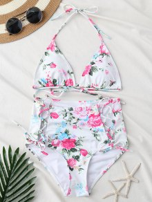 Strappy Lace Up High Waist Floral Bikini Set
