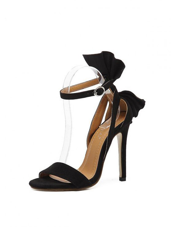 Ankle Strap Mini Heel Flower Sandals - BLACK 37 Mobile