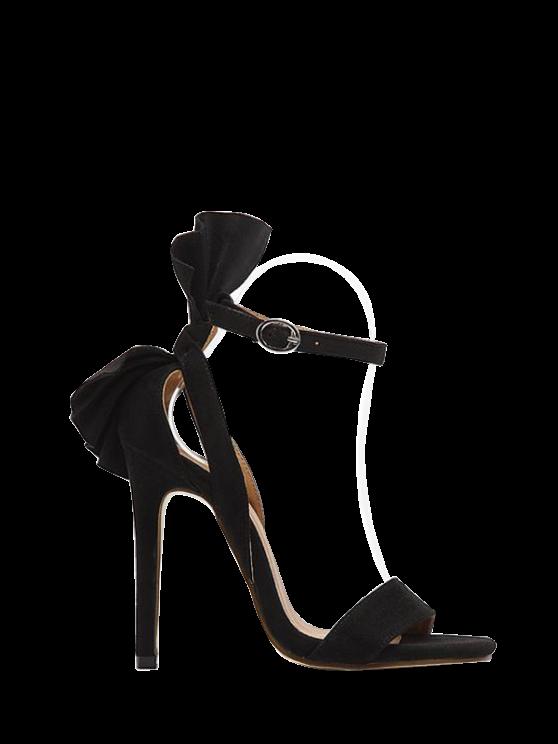 trendy Ankle Strap Mini Heel Flower Sandals - BLACK 38