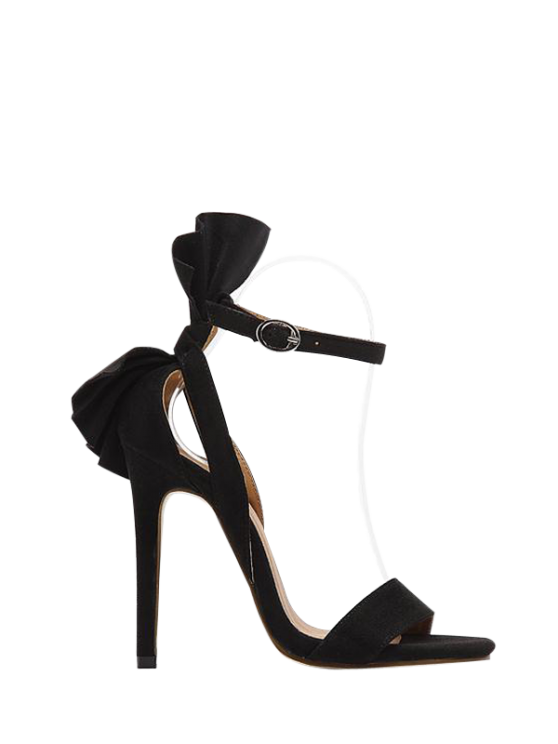 fashion Ankle Strap Mini Heel Flower Sandals - BLACK 39